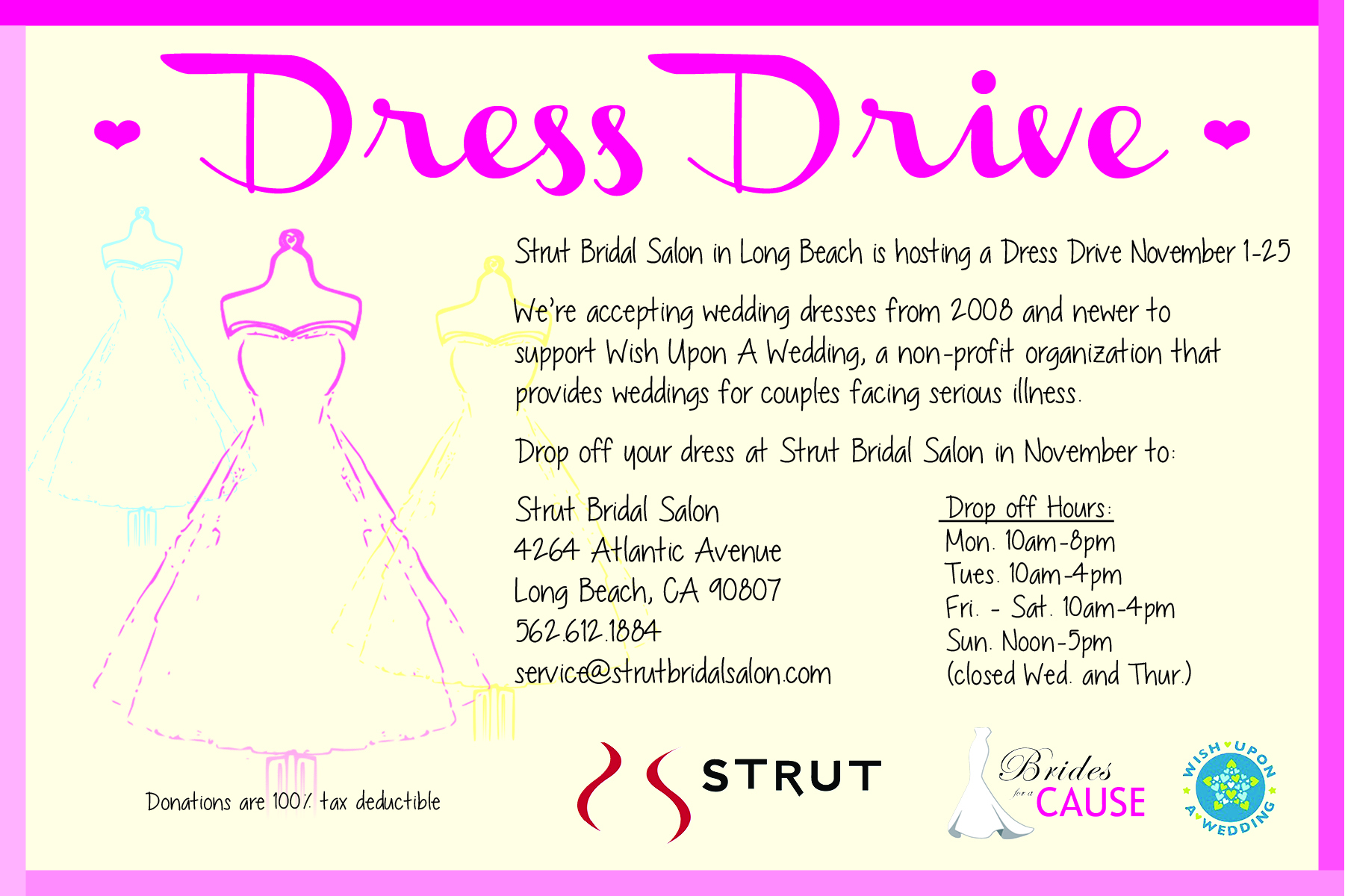 Wedding dresses donations high cut wedding dresses for Donate wedding dress cancer