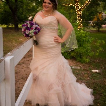 Carrie's Romantic Champagne Organza Trumpet Wedding Gown
