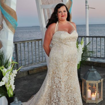 Haydee's Champagne Lace Trumpet Wedding Dress