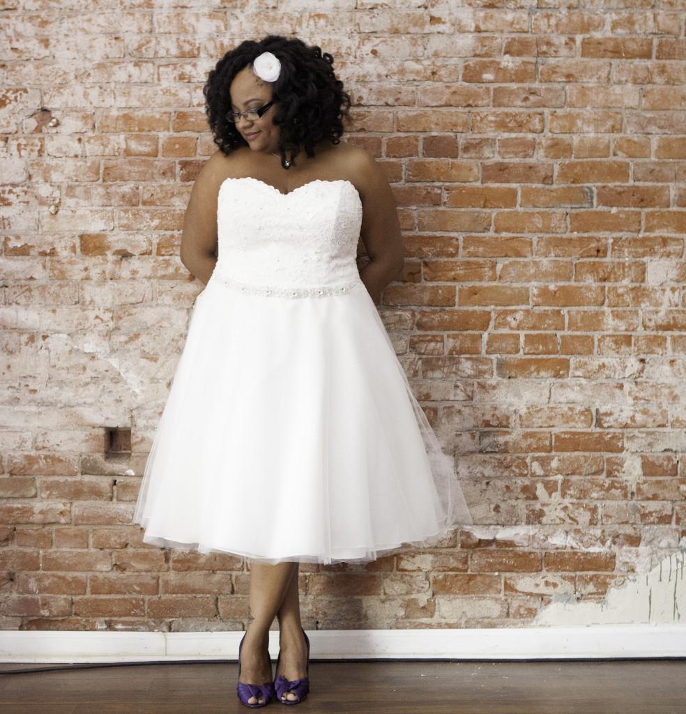 Plus Size Tea Length Wedding Dress