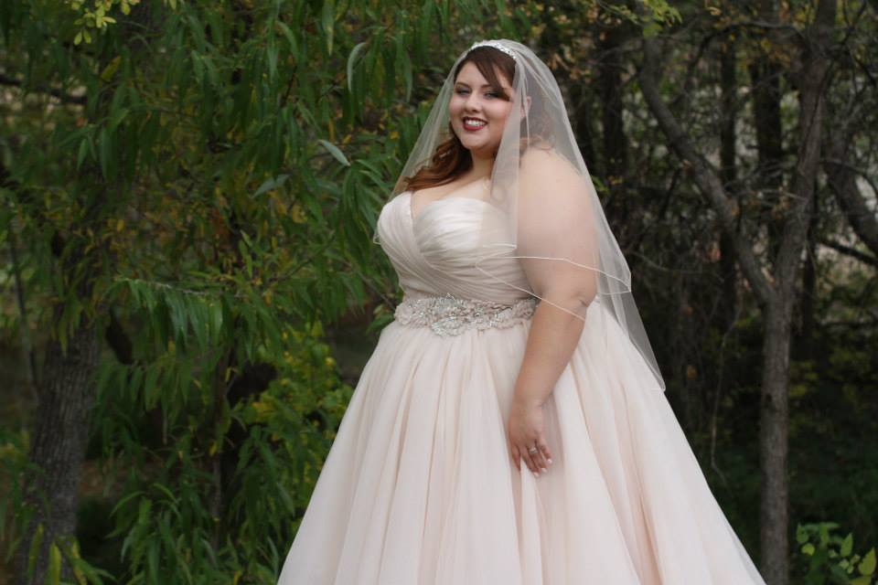 Ana r a real bride in allure 2607 strut bridal salon for Plus size champagne colored wedding dresses