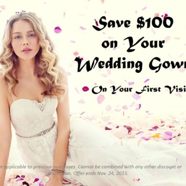 Save $100 on Your Wedding Gown Through Nov 24th
