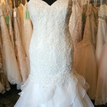 NEW: Lace and Ruffle Trumpet Wedding Gown