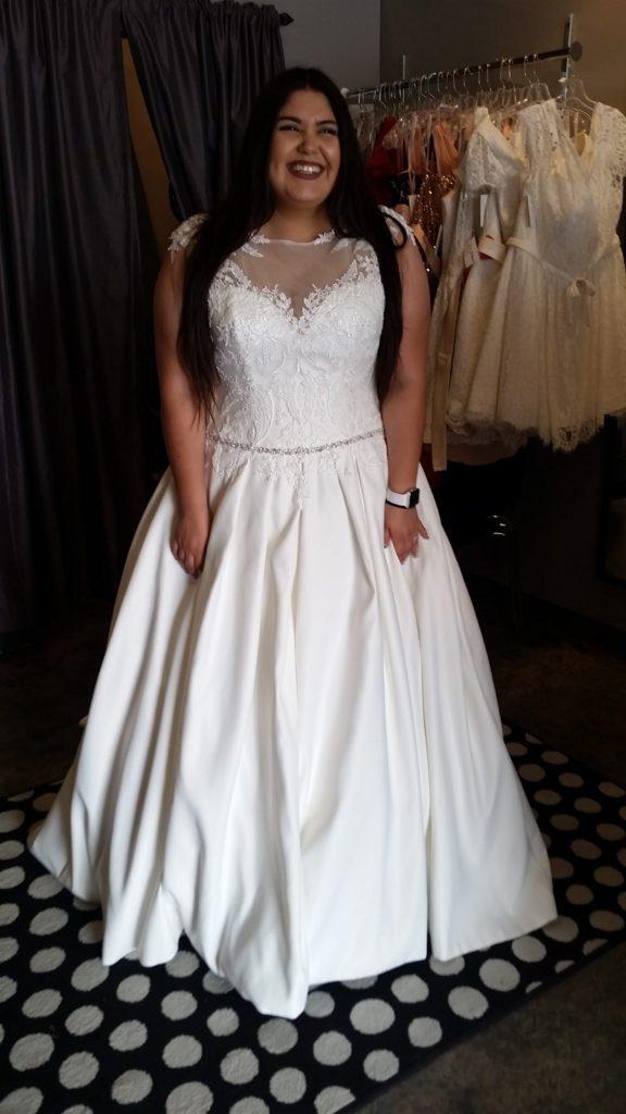 71dacae98cd NEW  Illusion Neckline Satin Ballgown - Strut Bridal Salon