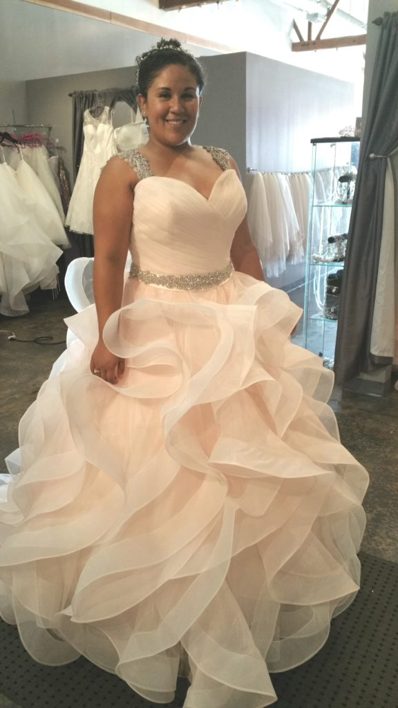 New amazing pink ruffle ballgown strut bridal salon for Wedding salon
