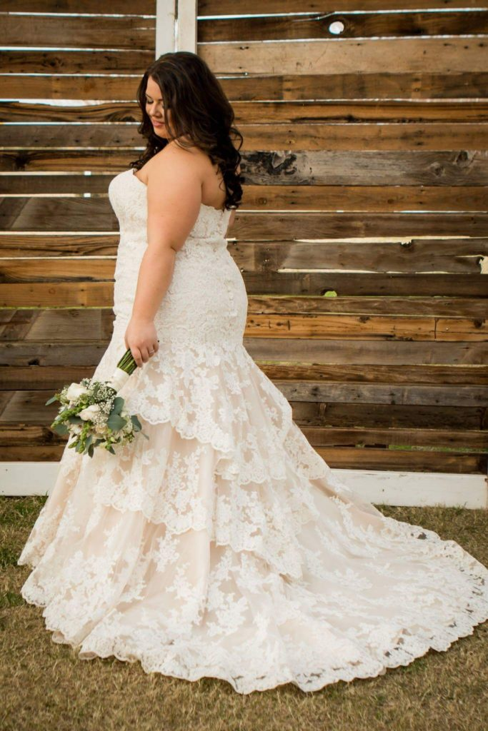 Nicole\'s Champagne Fitted Wedding Dress - Strut Bridal Salon