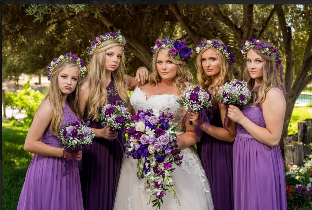 Ashley\'s Ballgown Wedding Dress and Floral Crown with Purple Accents ...