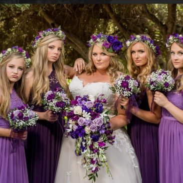 Ashley's Ballgown Wedding Dress and Floral Crown with Purple Accents