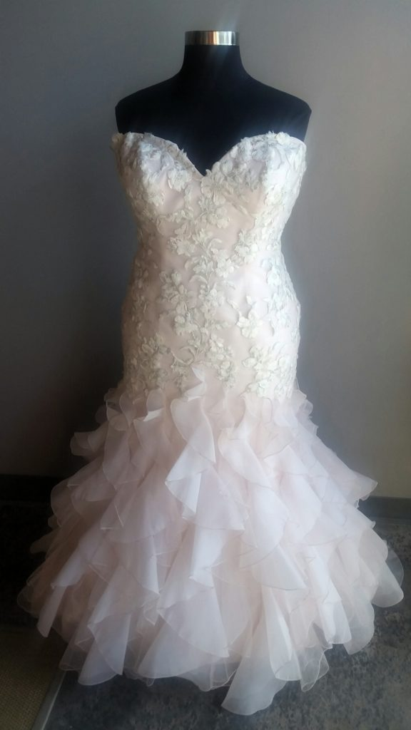 NEW: Pink Wedding Dress with Ruffles - Strut Bridal Salon