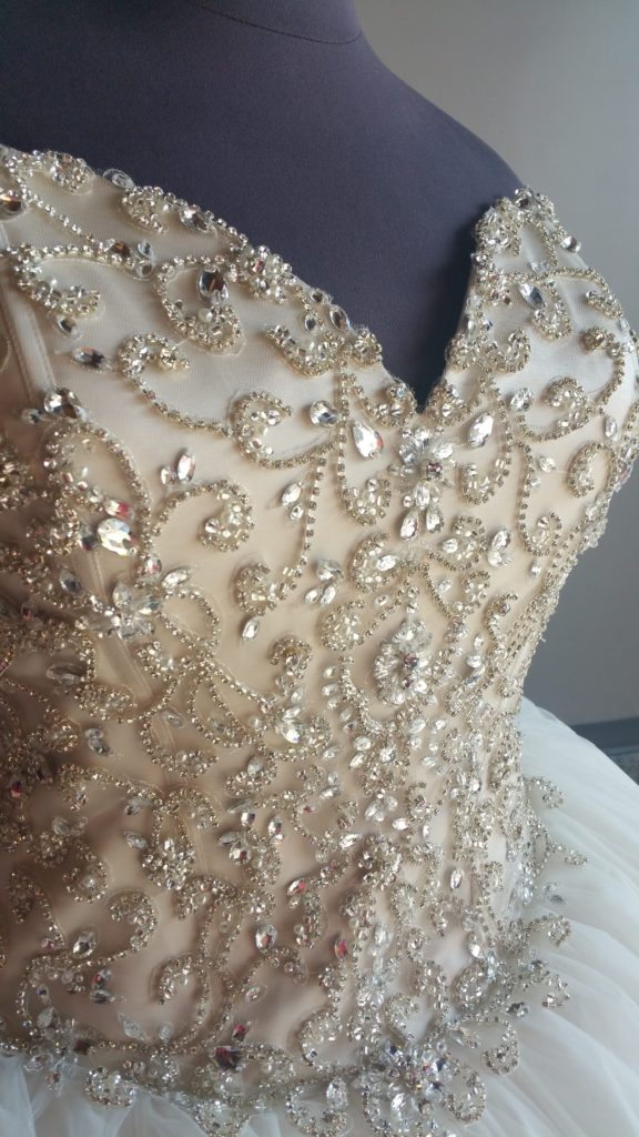 fc670baed4 This new plus size super bling ballgown wedding dress is champagne on the  bodice
