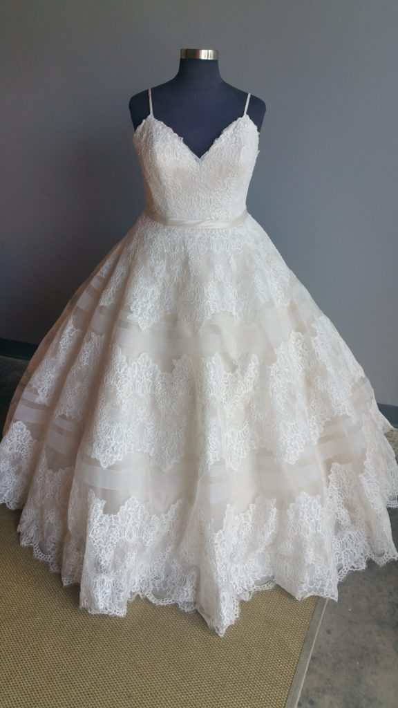 New Striped Horsehair And Lace Ballgown Strut Bridal Salon