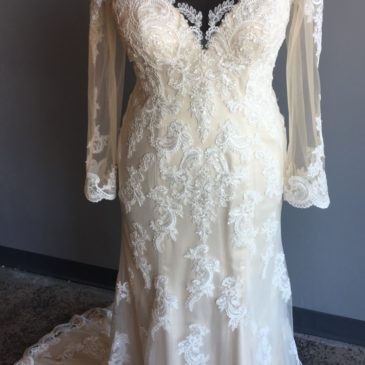 NEW: Plus Size Long Sleeve Lace Wedding Gown
