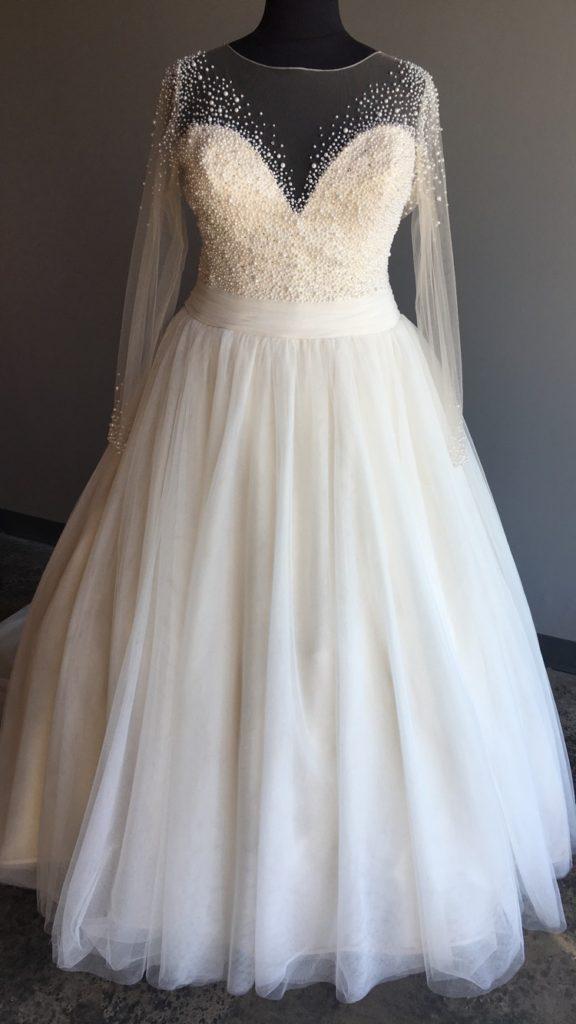 NEW Long Sleeve Pearl Ballgown Wedding Dress