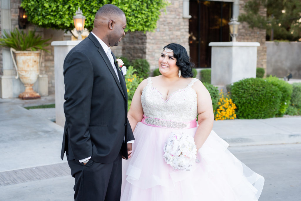 designer pink plus size wedding dress