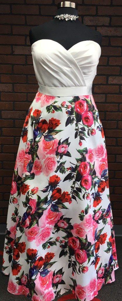 white floral satin strapless aline plus size prom dress