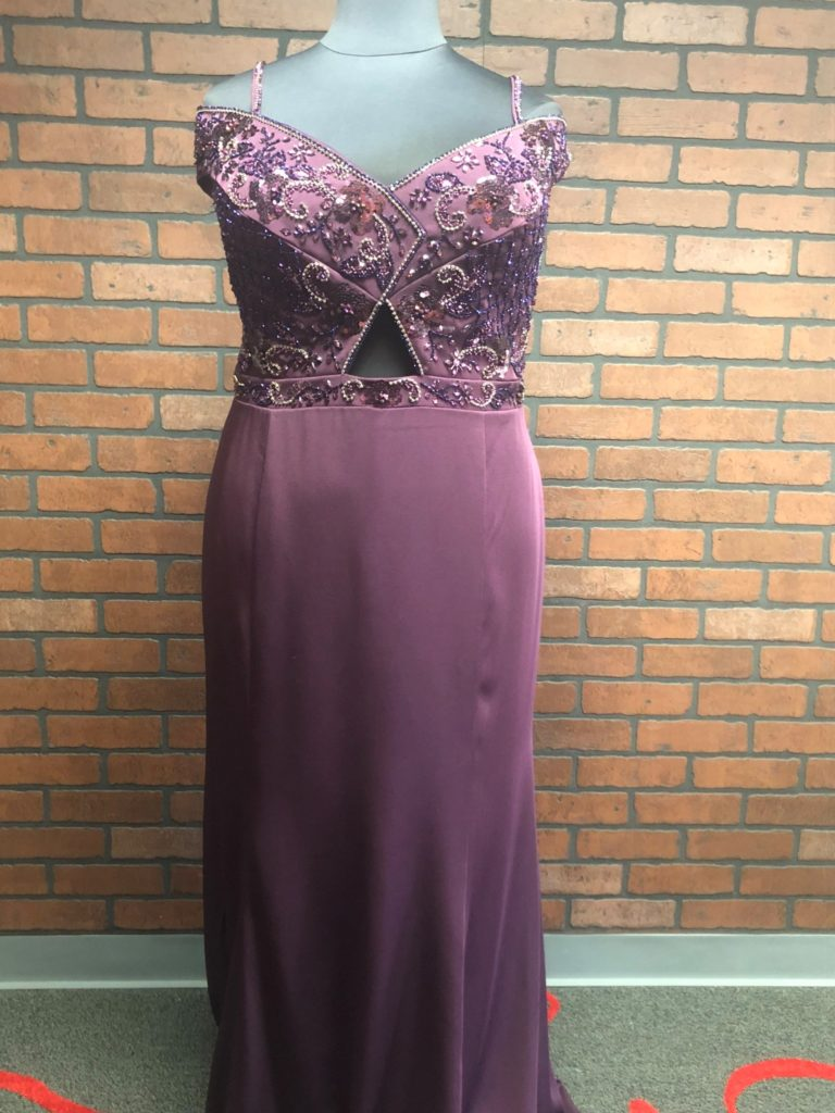 purple plus size prom dress with off the shoulder straps sleeves and beaded peekaboo bodice