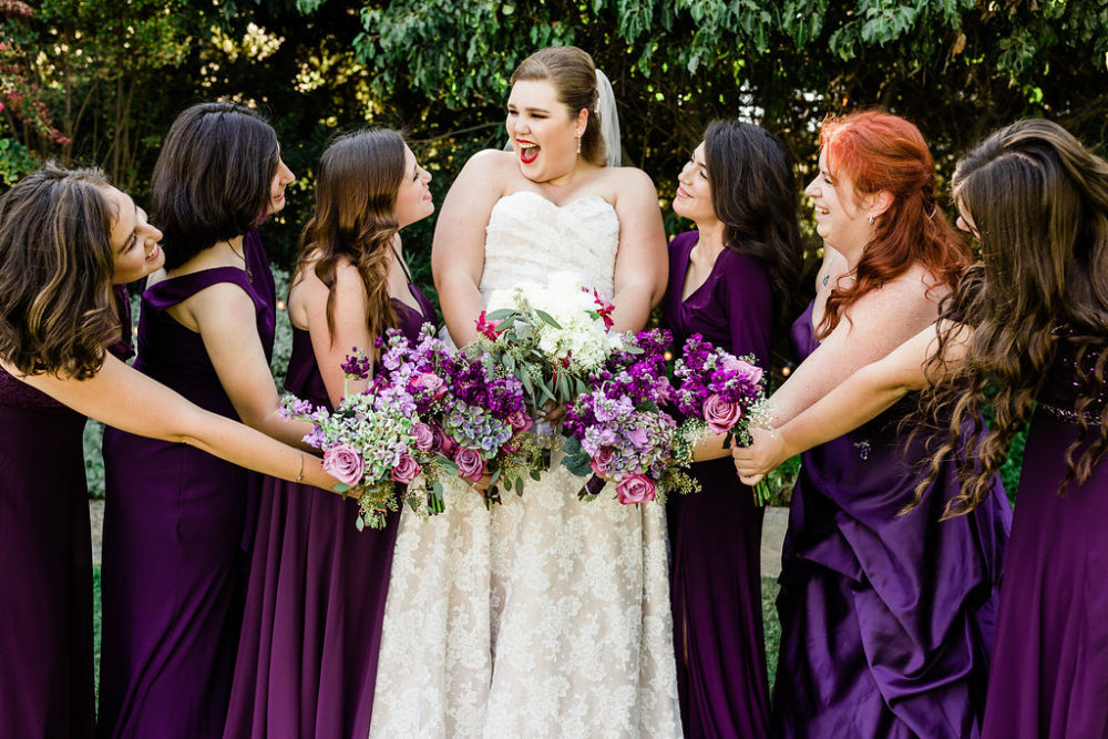 bridesmaids purple bridesmaid dresses