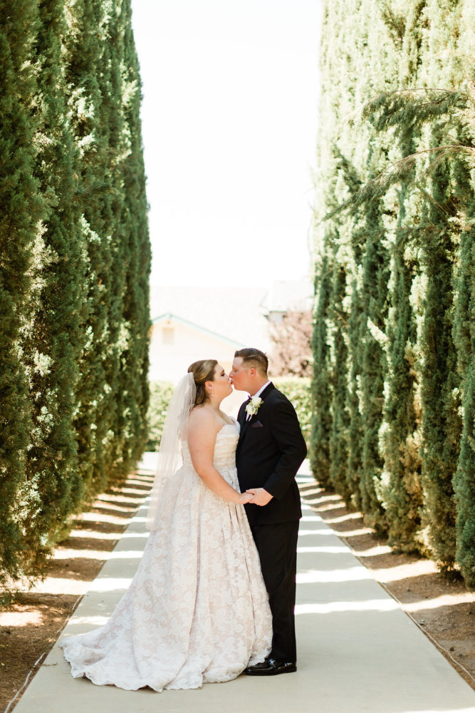 outdoor wedding california wedding first kiss