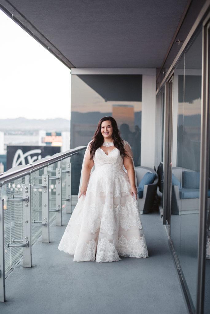 Ashley\'s Glamorous Wedding Gown with Cape - Strut Bridal Salon
