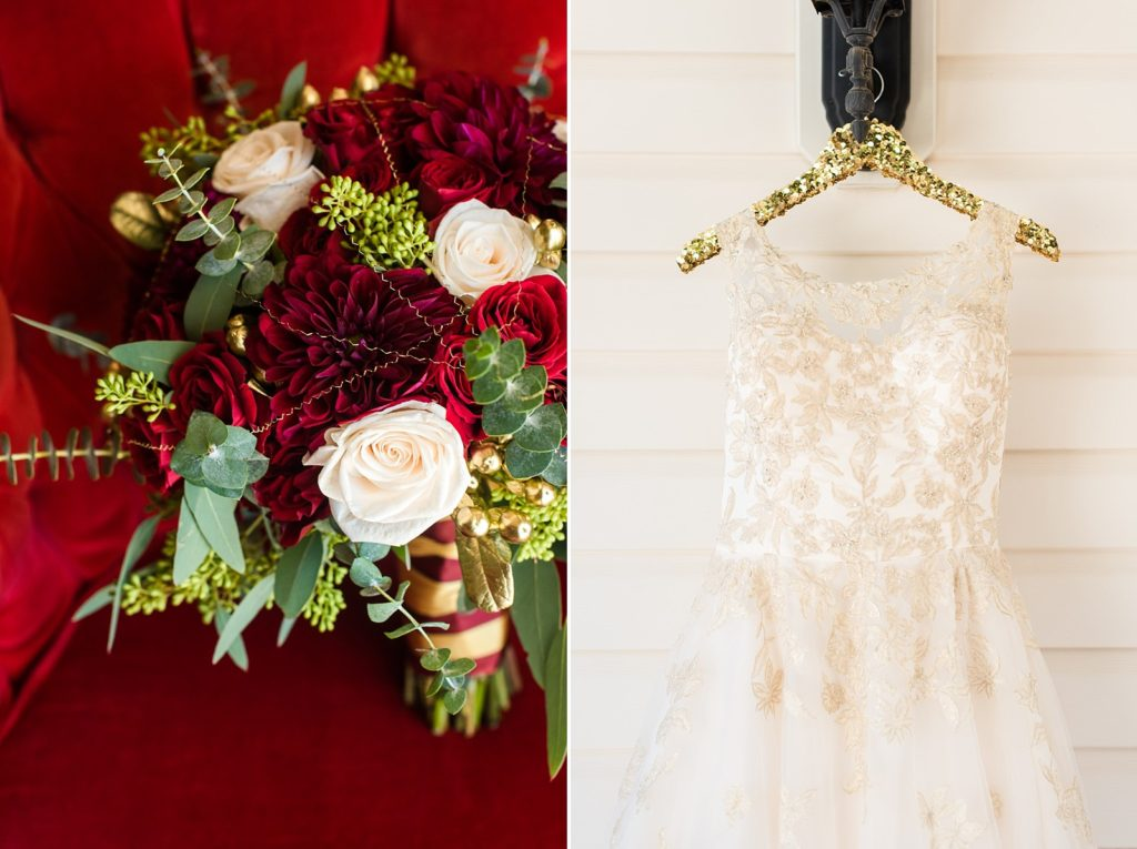 Gold theme wedding and gold wedding dress