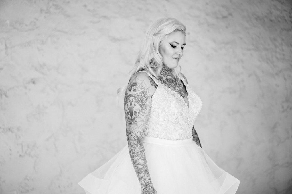 ruffle bridal gown for curvy women