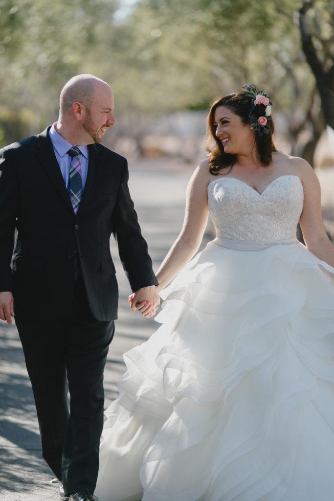 curvy bride in plus size ruffle wedding gown