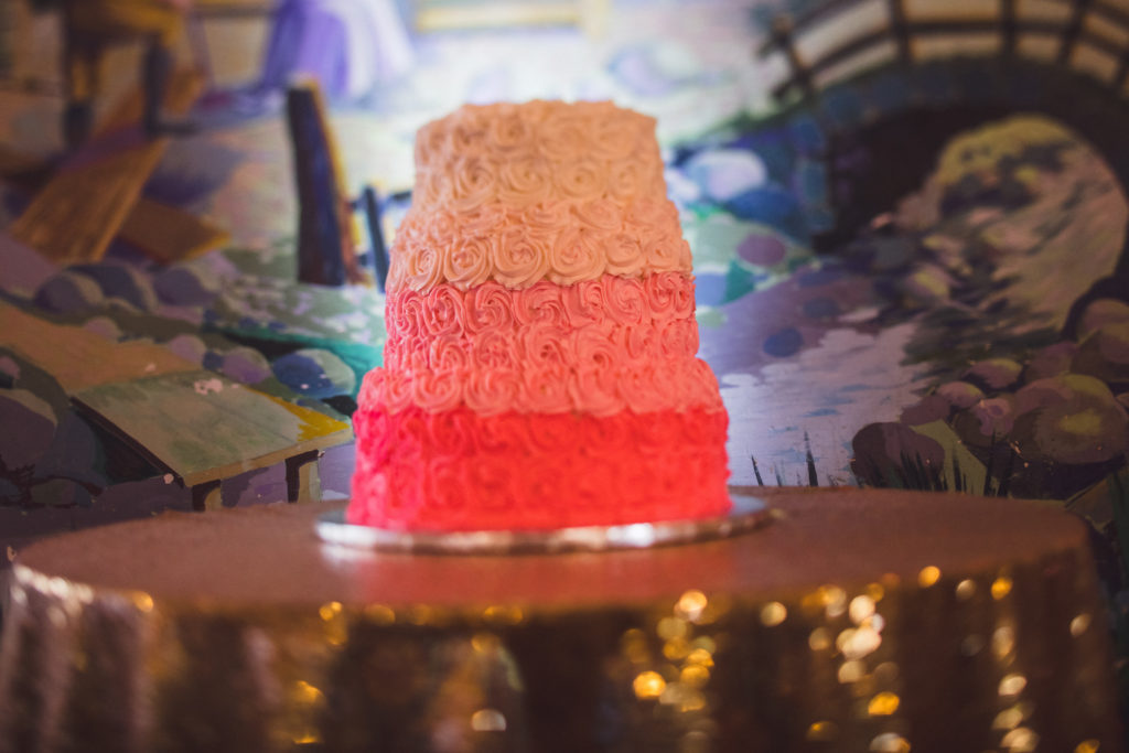 layered wedding cake with ombre