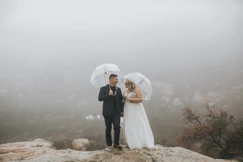 outdoor wedding rainy day california