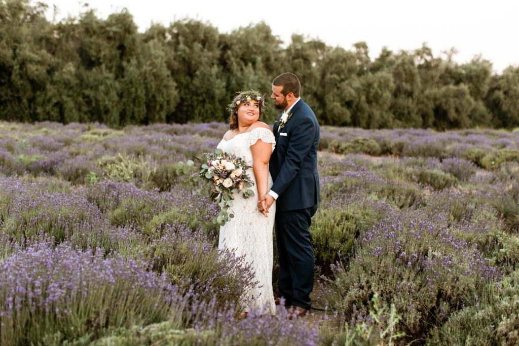 real plus size bride in lavender fields