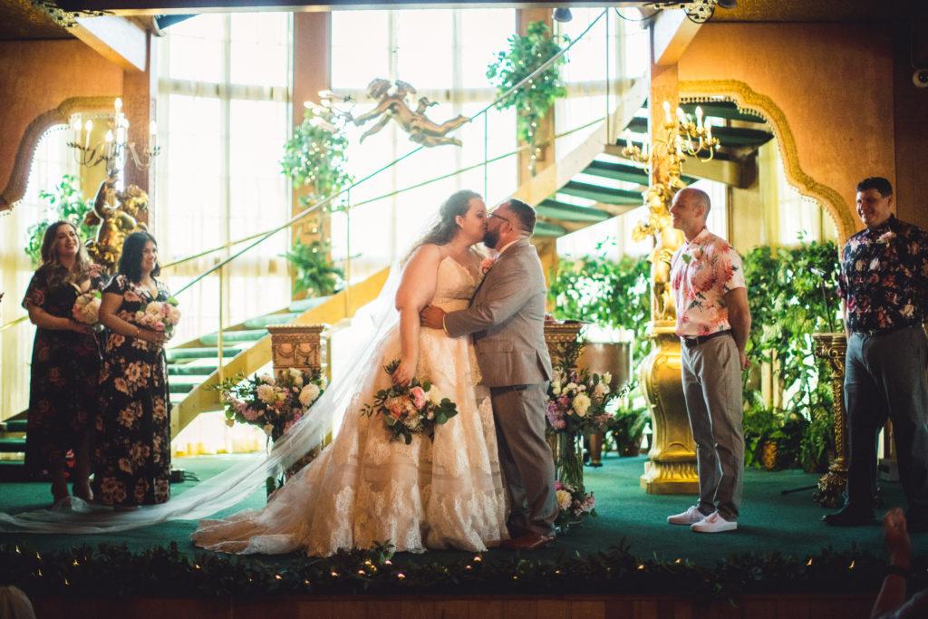 plus size wedding dress, newlyweds, indoor wedding