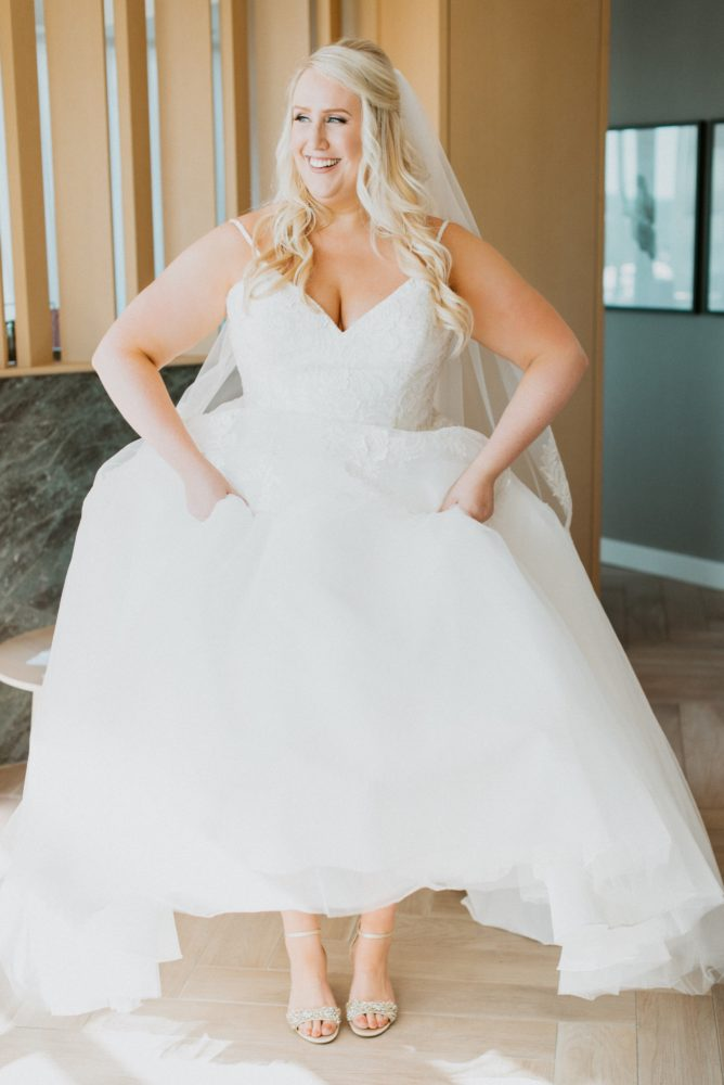 curvy bride in modern princess ballgown