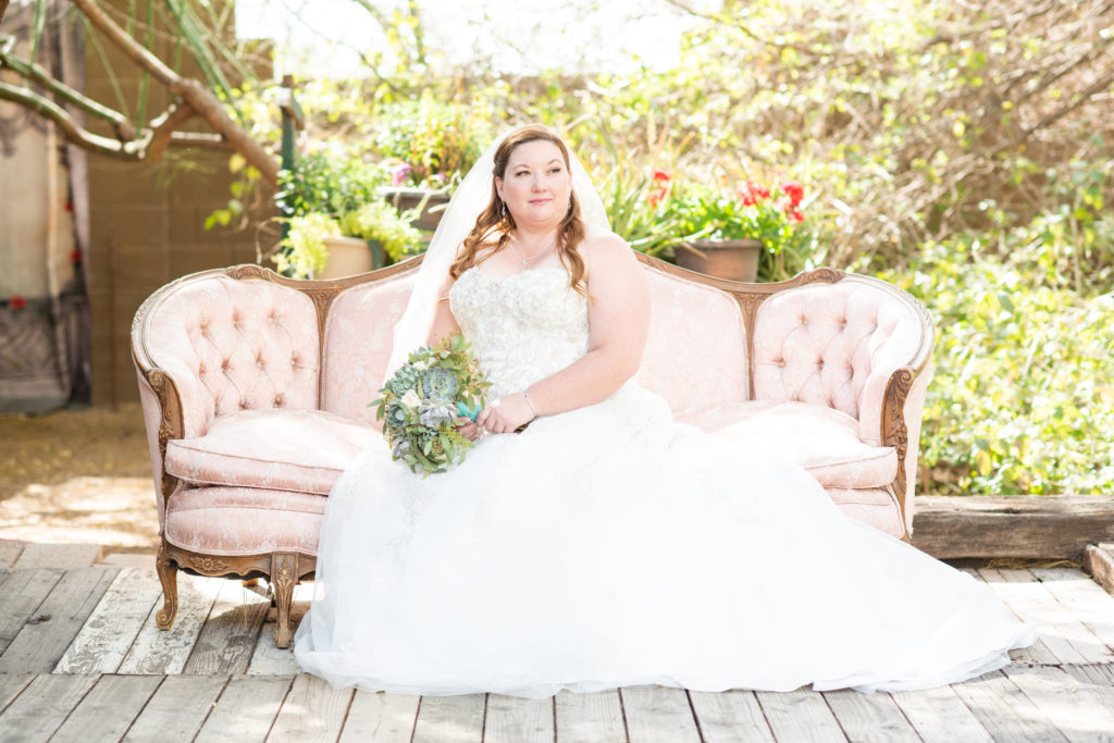 plus size bride on couch