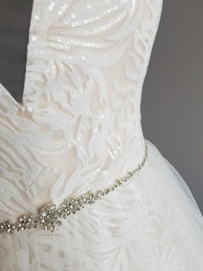 close up of the soft lace detail on the bodice