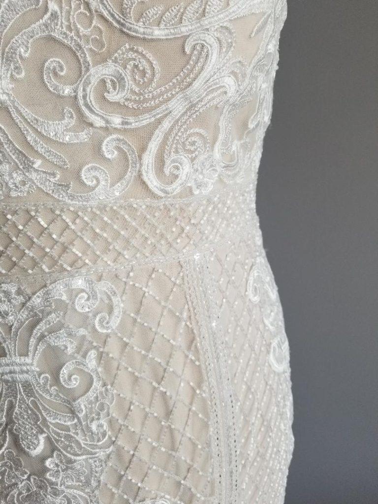 Two tone wedding dress close up of beading