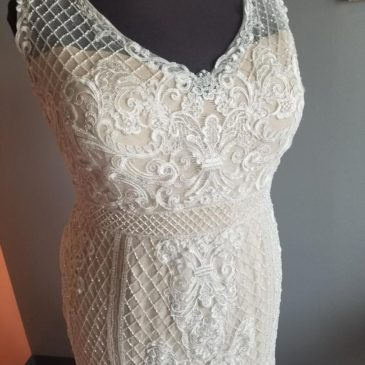 NEW! V-neck Beaded Cris Cross with Lace Applique Sheath Wedding Dress
