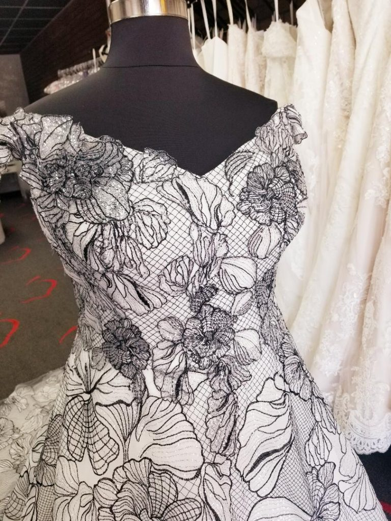 black and white floral pattern off the shoulder plus size ballgown wedding dress