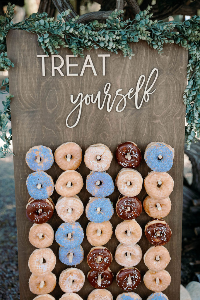 donut wall at wedding