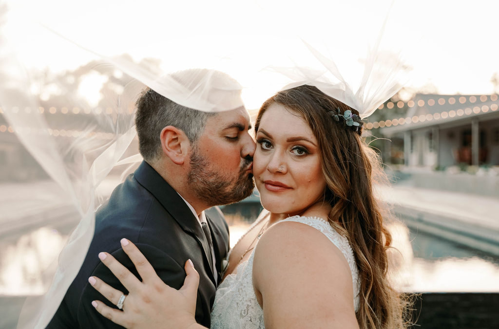 close up of plus size bride Los Angeles California