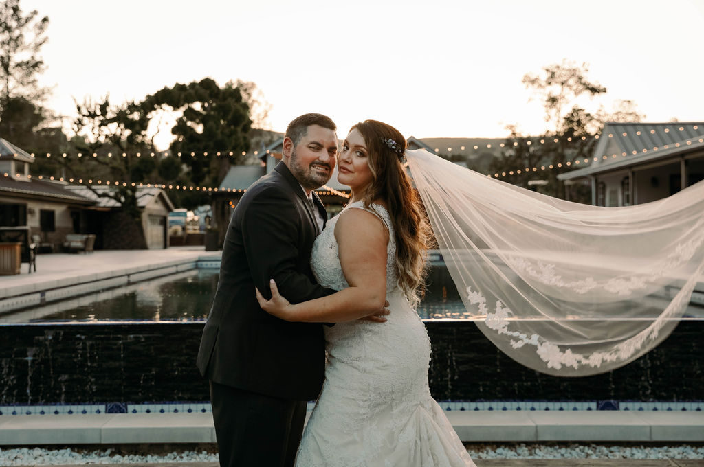 sexy plus size bride with cathedral veil